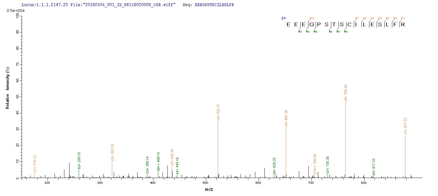 LC-MS Analysis 1- Recombinant protein Human MAGEA1